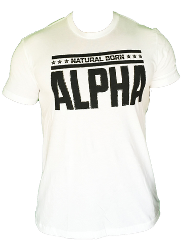 "Men's  ""Natural Born Alpha"" T-Shirt (White)"