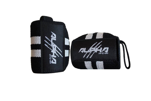 Alpha Wear Wrist Wraps- White/Black