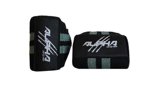 Alpha Wear Wrist Wraps- Grey/Black