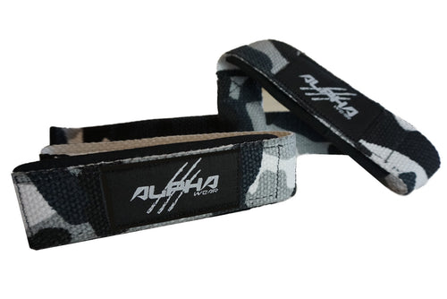 Alpha Wear Lifting Straps- White Camo/Black