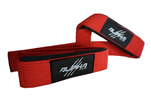 Alpha Wear Lifting Straps- Red/Black