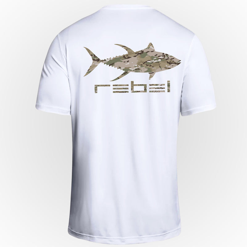 Rebel Fishing Camo Tuna White Tee