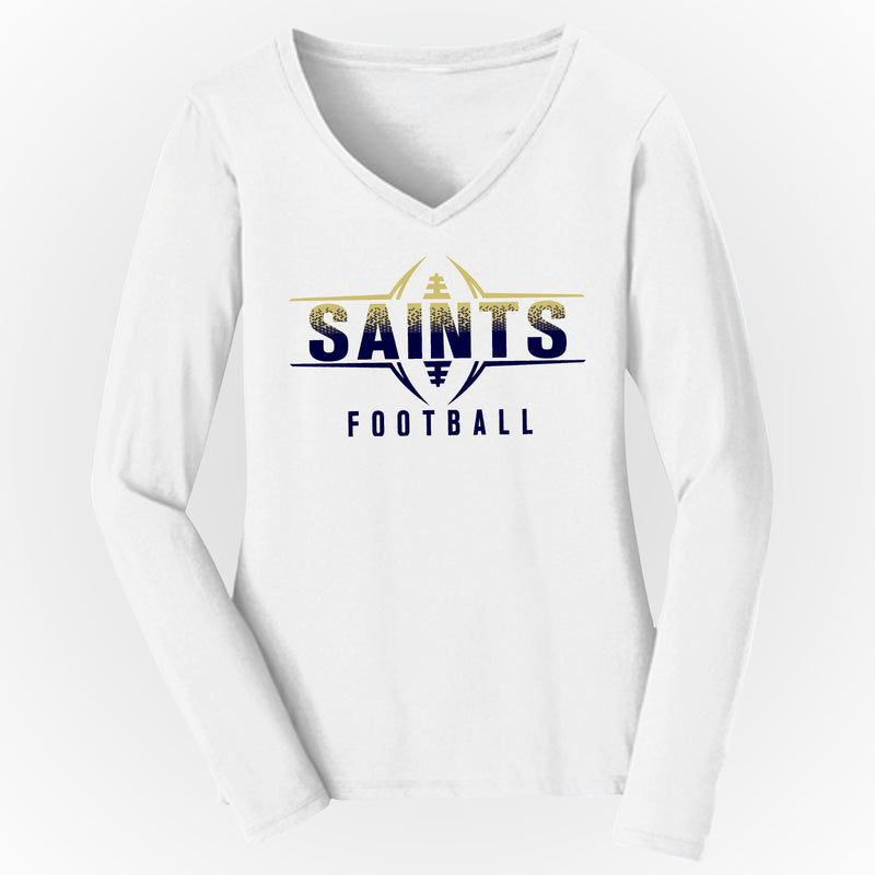 Silver Spring Saints Football Women's V-Neck Long Sleeve Tee