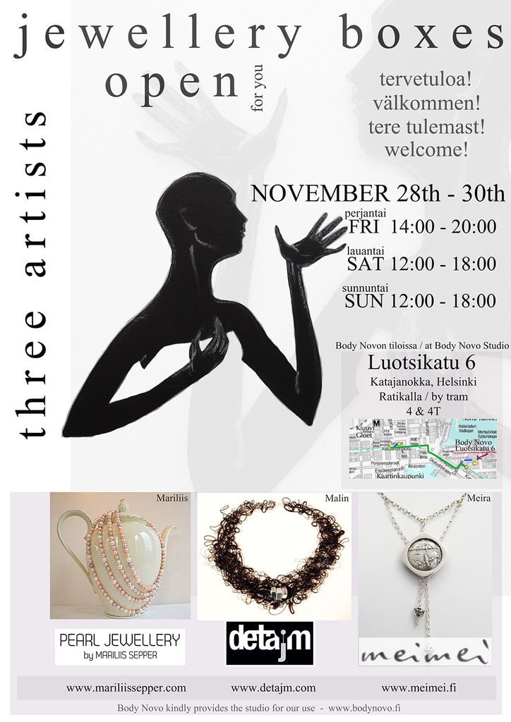three artists - jewellery boxes open.. in Helsinki from 28th to 30th November