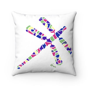 Pillow – Dragonfly (in pinks/purples/green on white)