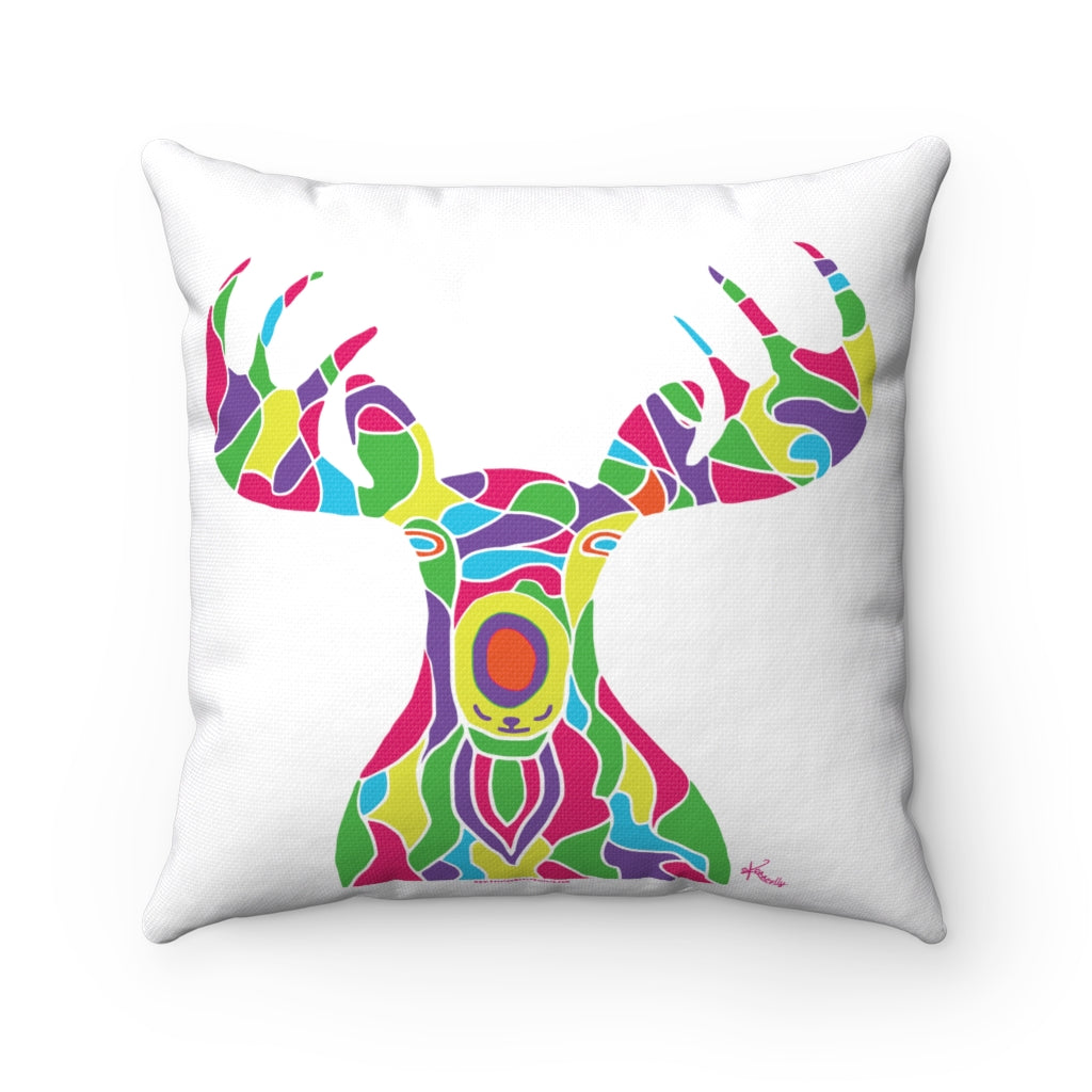 Pillow – The Painted Moose Himself! (on white)