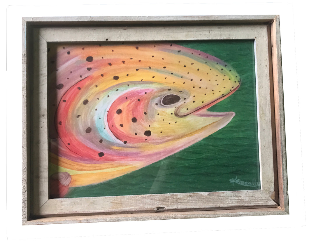 Rainbow Trout – Barn Board-Framed Art Print