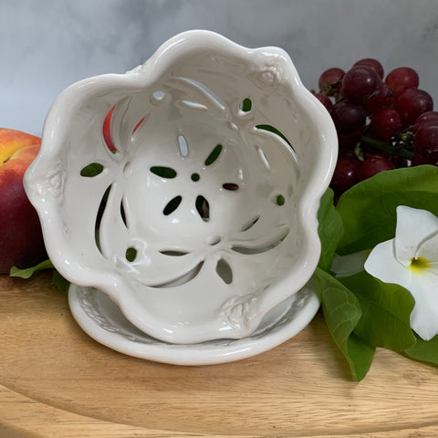 Ceramic Colander Berry Bowl with Rose Blossom Design - #2 Single Serving Size FREE U.S. SHIPPING