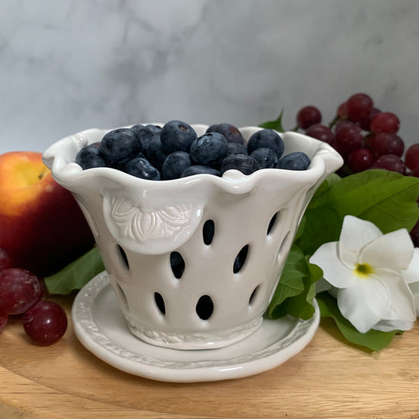 Ceramic Colander Berry Bowl - #3 Single Serving Size FREE U.S. SHIPPING