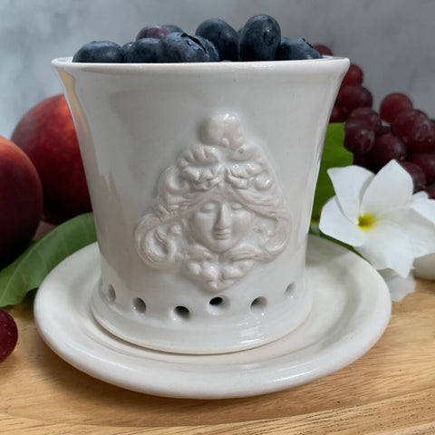 Ceramic Colander Berry Bowl with Goddess Design - #5 Single Serving Size FREE U.S. SHIPPING