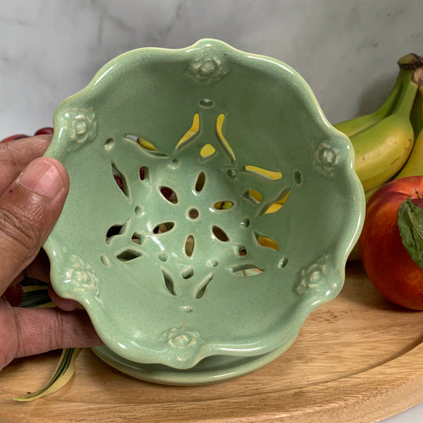 Ceramic Colander Berry Bowl with Rose Blossoms and Decorative Handles- #17 Single Serving Size FREE U.S. SHIPPING
