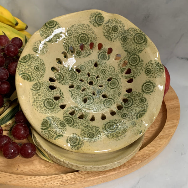 Berry Bowl Glazed in Yellow with Green Floral Design #22  FREE U.S. SHIPPING