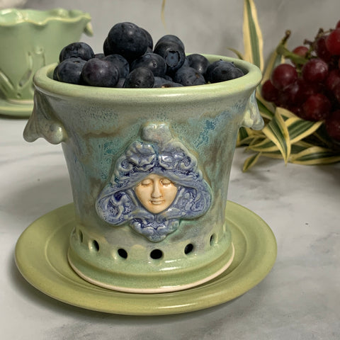 Ceramic Colander Berry Bowl with Goddess Design - #14 Single Serving Size FREE U.S. SHIPPING