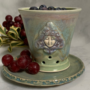 Ceramic Colander Berry Bowl with Goddess Design - #13 Single Serving Size FREE U.S. SHIPPING