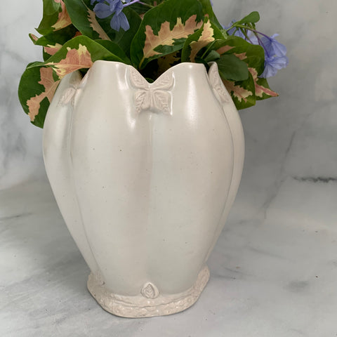 Ceramic Fluted Vase with Butterfly Design #9 - FREE PRIORITY SHIPPING for U.S. Orders