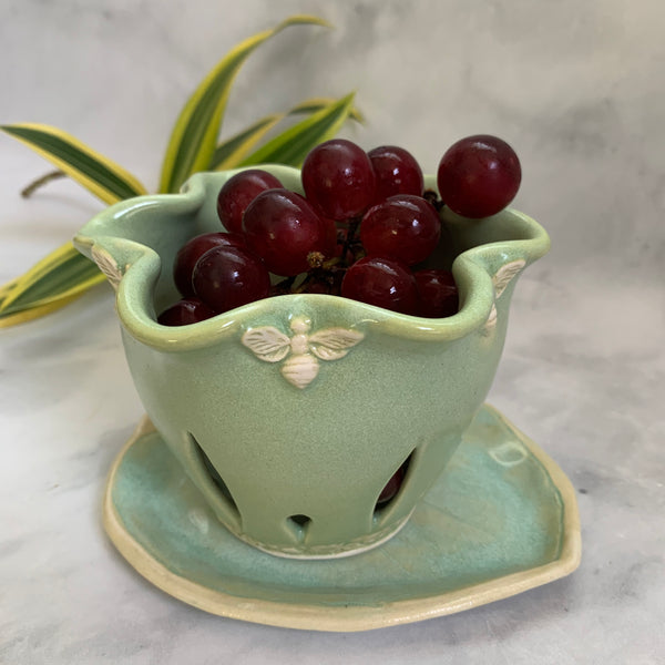 Ceramic Colander Berry Bowl with Filigree Handles - #15 Single Serving Size FREE U.S. SHIPPING