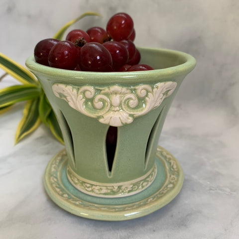 Ceramic Colander Berry Bowl with Bees - #16 Single Serving Size FREE U.S. SHIPPING