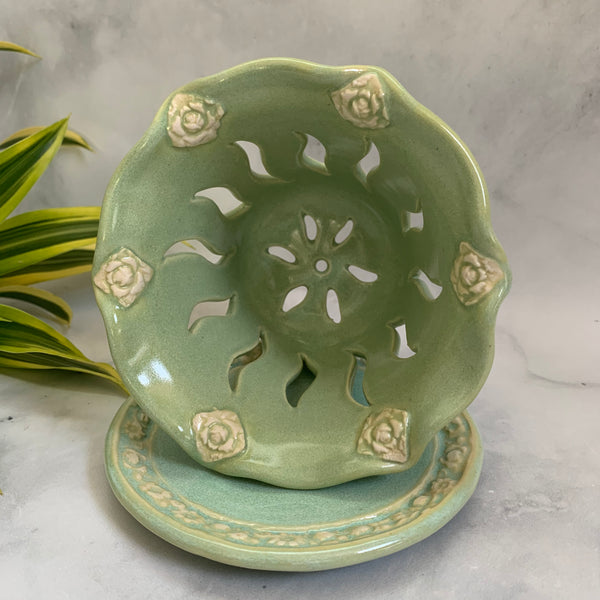 Ceramic Colander Berry Bowl with Rose Blossoms - #18 Single Serving Size FREE U.S. SHIPPING