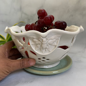Discounted Ceramic Berry Bowl - Handmade Pottery Bowl with Bees #21 FREE U.S. SHIPPING
