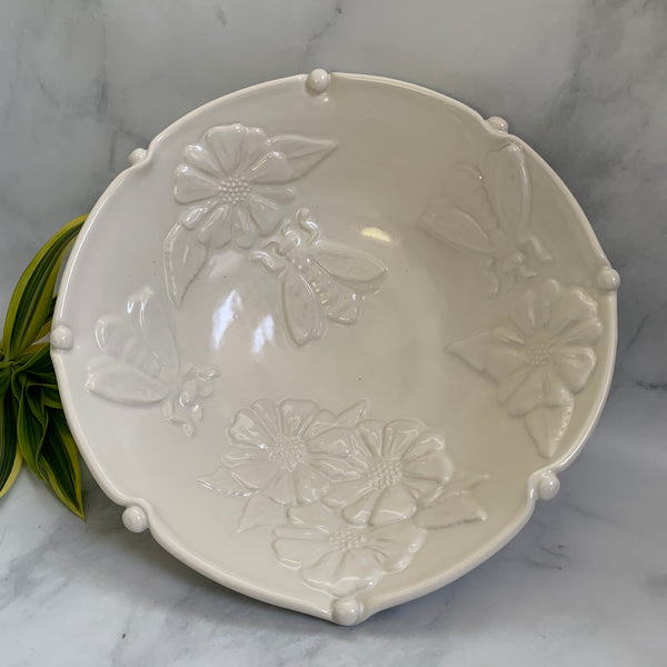 Discounted Large White Ceramic Bowl - Porcelain Fruit Bowl - Handmade Pottery Bowl with Flowers and Bees #20