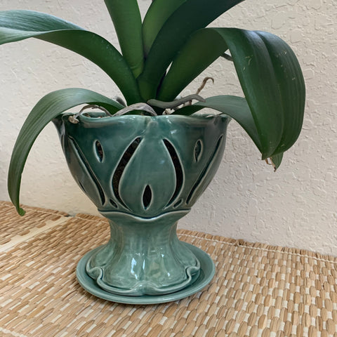 Large Pedestal Ceramic Orchid Pot - Free U.S. Shipping included in Price