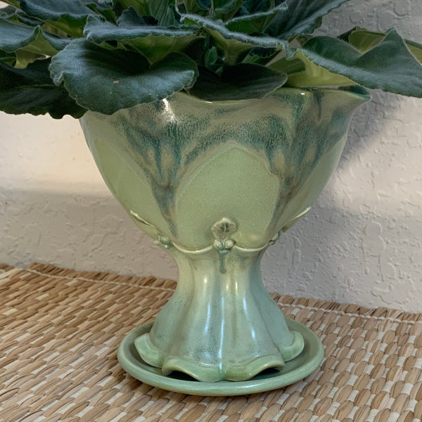 Ceramic Pedestal Planter Pot with Leaf Decoration - Free U.S. Shipping included in Price