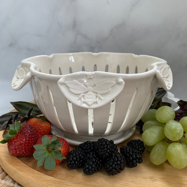 a #8 Ceramic Berry Bowl - Handmade Pottery Bowl with Bees FREE U.S. SHIPPING