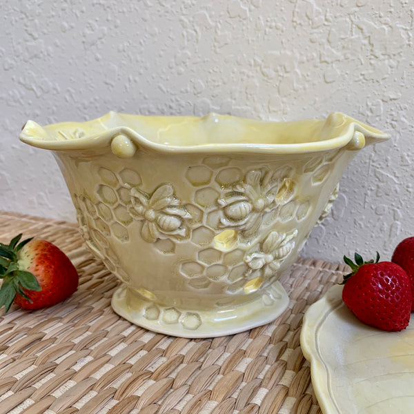 Ceramic Berry Bowl and Leaf Plate- Handmade Pottery Bowl with Honeycomb Bees #10 FREE U.S. SHIPPING