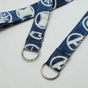 Avengers Symbols Blue Lanyard and Key Fob with Split Ring