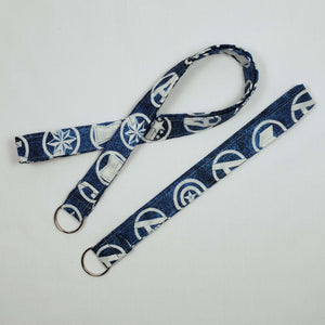 Avengers Symbols Blue Lanyard and Key Fob Full View