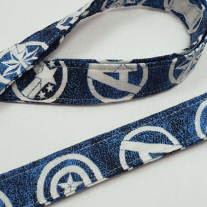 Avengers Symbols Blue Lanyard and Key Fob Close Up
