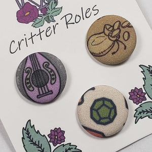 RPG Bard Themed Buttons Close Up