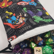 Load image into Gallery viewer, Black Avengers Drawstring Dice Bag with Dice