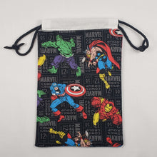 Load image into Gallery viewer, Black Avengers Drawstring Dice Bag Open