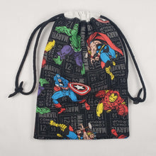 Load image into Gallery viewer, Black Avengers Drawstring Dice Bag Strings Pulled