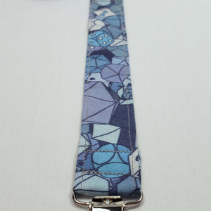 Blue RPG Dice Pacifier Clip Close Up with Clip