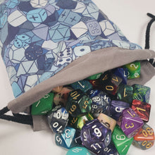 Load image into Gallery viewer, Blue RPG Dice Drawstring Dice Bag with Dice