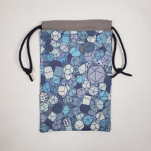 Load image into Gallery viewer, Blue RPG Dice Drawstring Dice Bag Open