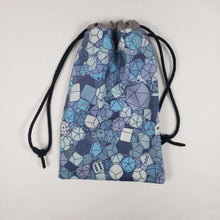 Load image into Gallery viewer, Blue RPG Dice Drawstring Dice Bag Strings Pulled