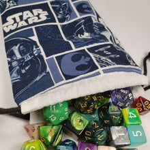Load image into Gallery viewer, Blue Star Wars Drawstring Dice Bag with Dice