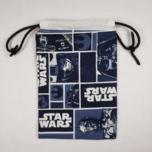 Load image into Gallery viewer, Blue Star Wars Drawstring Dice Bag Open