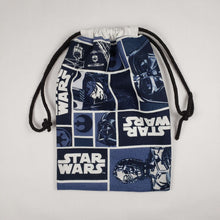 Load image into Gallery viewer, Blue Star Wars Drawstring Dice Bag Strings Pulled