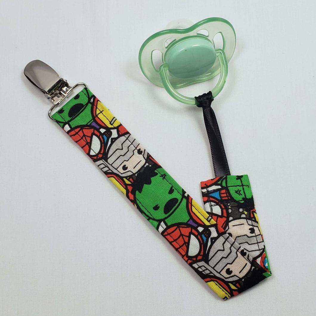 Chibi Marvel Characters Pacifier Clip with Pacifier