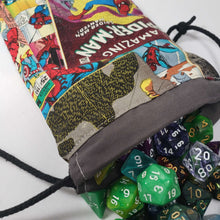 Load image into Gallery viewer, Spiderman Comic Drawstring Dice Bag with Dice