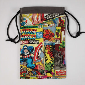 Spiderman Comic Drawstring Dice Bag Open