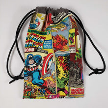 Load image into Gallery viewer, Spiderman Comic Drawstring Dice Bag Strings Pulled