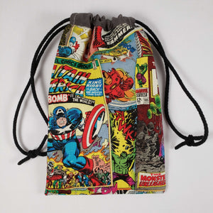 Spiderman Comic Drawstring Dice Bag Strings Pulled