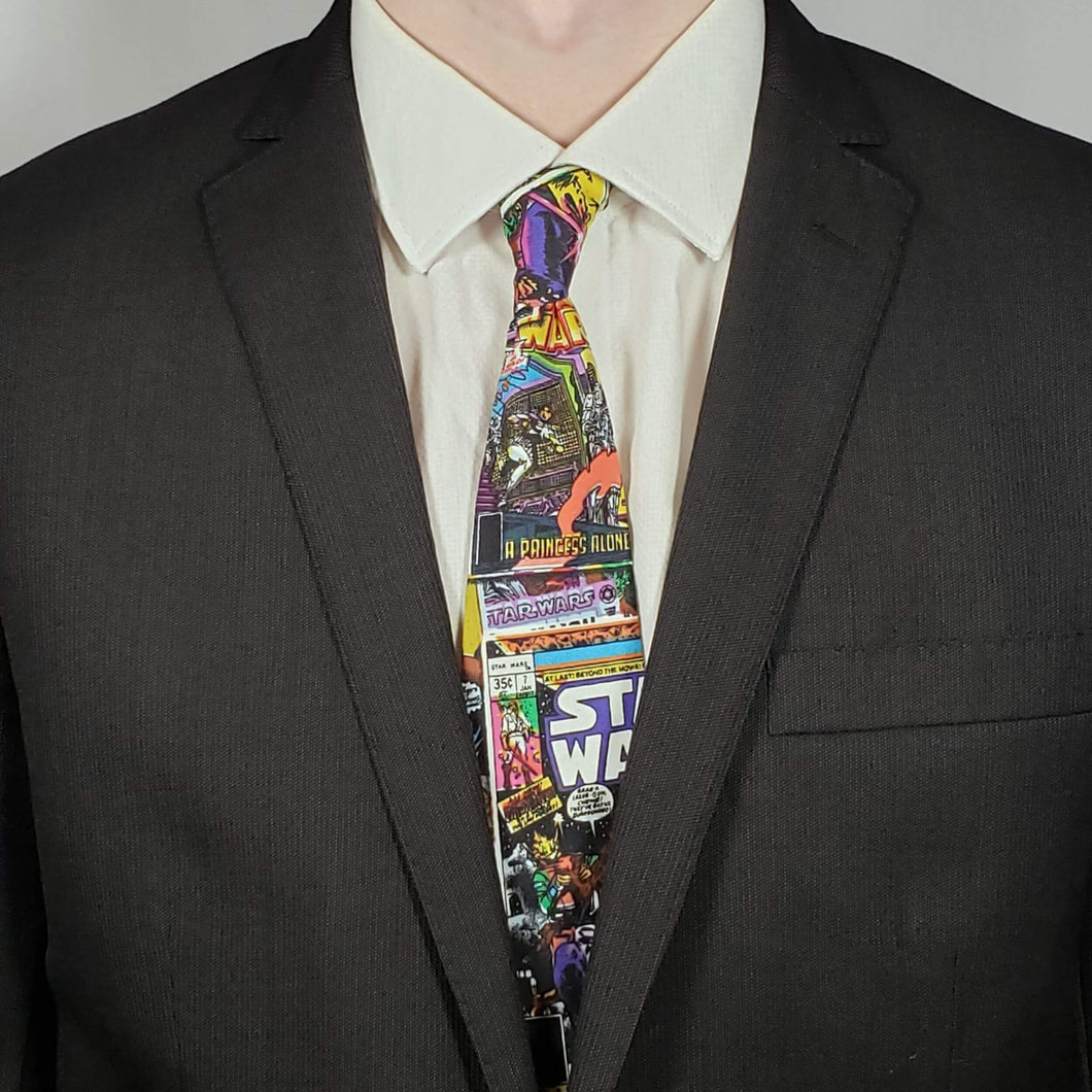 Star Wars Comic Necktie Worn with Suit