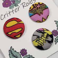 Load image into Gallery viewer, DC Superwomen Logo Buttons Close Up