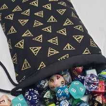 Load image into Gallery viewer, Deathly Hallows Harry Potter Dicebag with DIce